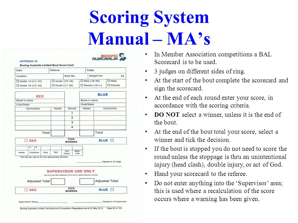 Ver Jan 2012 Scoring System Manual – MAs In Member Association competitions a BAL Scorecard is to be used. 3 judges on different sides of ring. At the