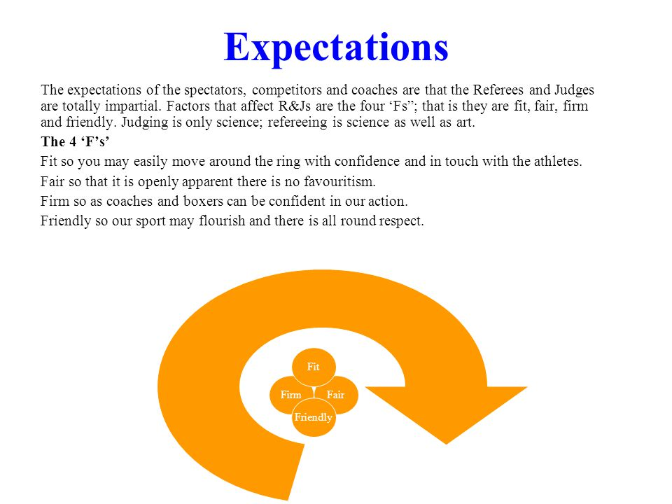 Expectations The expectations of the spectators, competitors and coaches are that the Referees and Judges are totally impartial.