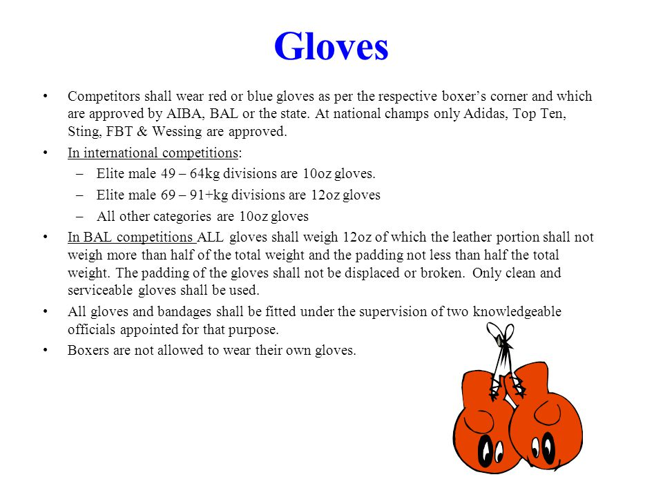 Gloves Competitors shall wear red or blue gloves as per the respective boxers corner and which are approved by AIBA, BAL or the state.