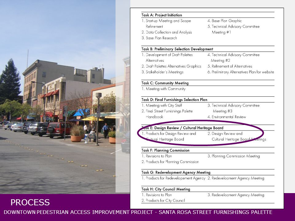 DOWNTOWN PEDESTRIAN ACCESS IMPROVEMENT PROJECT - SANTA ROSA STREET FURNISHINGS PALETTE PROCESS
