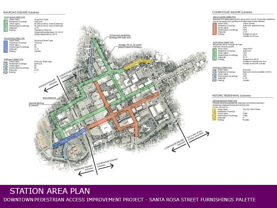 DOWNTOWN PEDESTRIAN ACCESS IMPROVEMENT PROJECT - SANTA ROSA STREET FURNISHINGS PALETTE STATION AREA PLAN