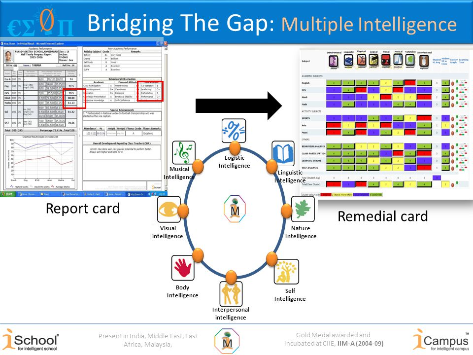 Gold Medal awarded and Incubated at CIIE, IIM-A (2004-09) Present in India, Middle East, East Africa, Malaysia, Bridging The Gap : Multiple Intelligence Visual intelligence Body Intelligence Interpersonal intelligence Self Intelligence Nature Intelligence Linguistic Intelligence Logistic Intelligence Musical Intelligence Report card Remedial card