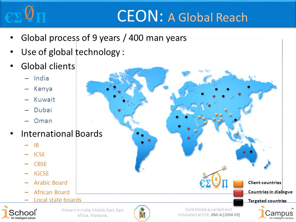 Gold Medal awarded and Incubated at CIIE, IIM-A (2004-09) Present in India, Middle East, East Africa, Malaysia, CEON: A Global Reach Global process of 9 years / 400 man years Use of global technology : Global clients – India – Kenya – Kuwait – Dubai – Oman International Boards – IB – ICSE – CBSE – IGCSE – Arabic Board – African Board Client countries Targeted countries Countries in dialogue – Local state boards