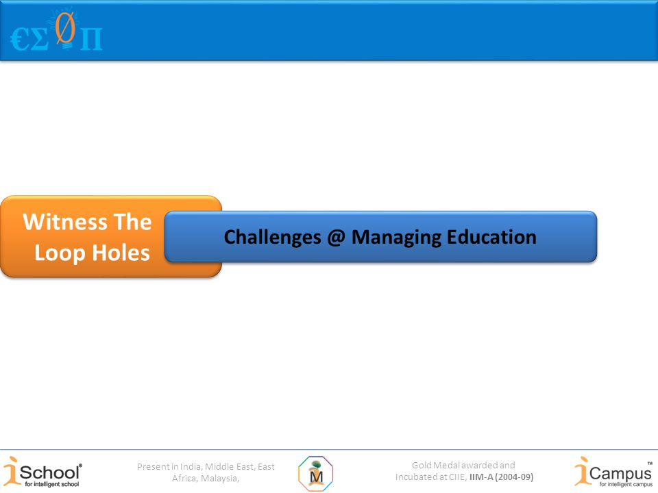 Gold Medal awarded and Incubated at CIIE, IIM-A (2004-09) Present in India, Middle East, East Africa, Malaysia, Witness The Loop Holes Witness The Loop Holes Challenges @ Managing Education
