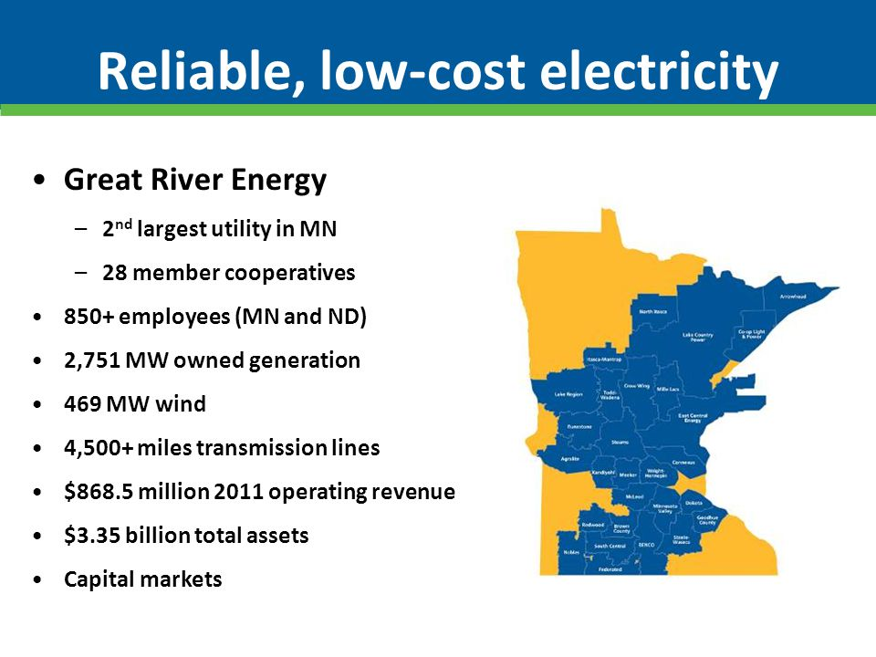 Reliable, low-cost electricity Great River Energy –2 nd largest utility in MN –28 member cooperatives 850+ employees (MN and ND) 2,751 MW owned genera