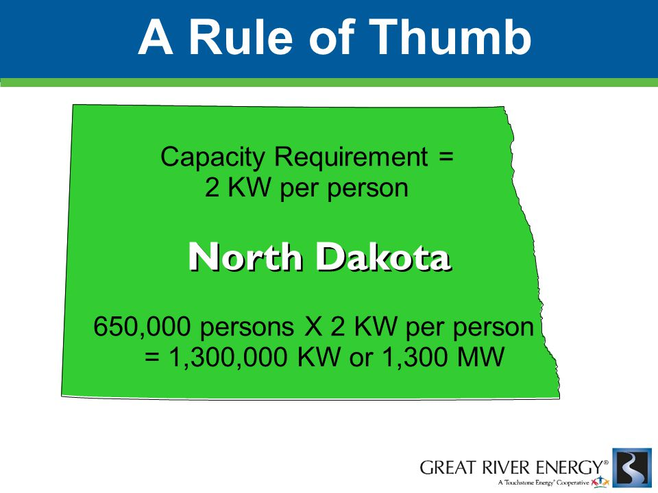 Capacity Requirement = 2 KW per person 650,000 persons X 2 KW per person = 1,300,000 KW or 1,300 MW North Dakota A Rule of Thumb