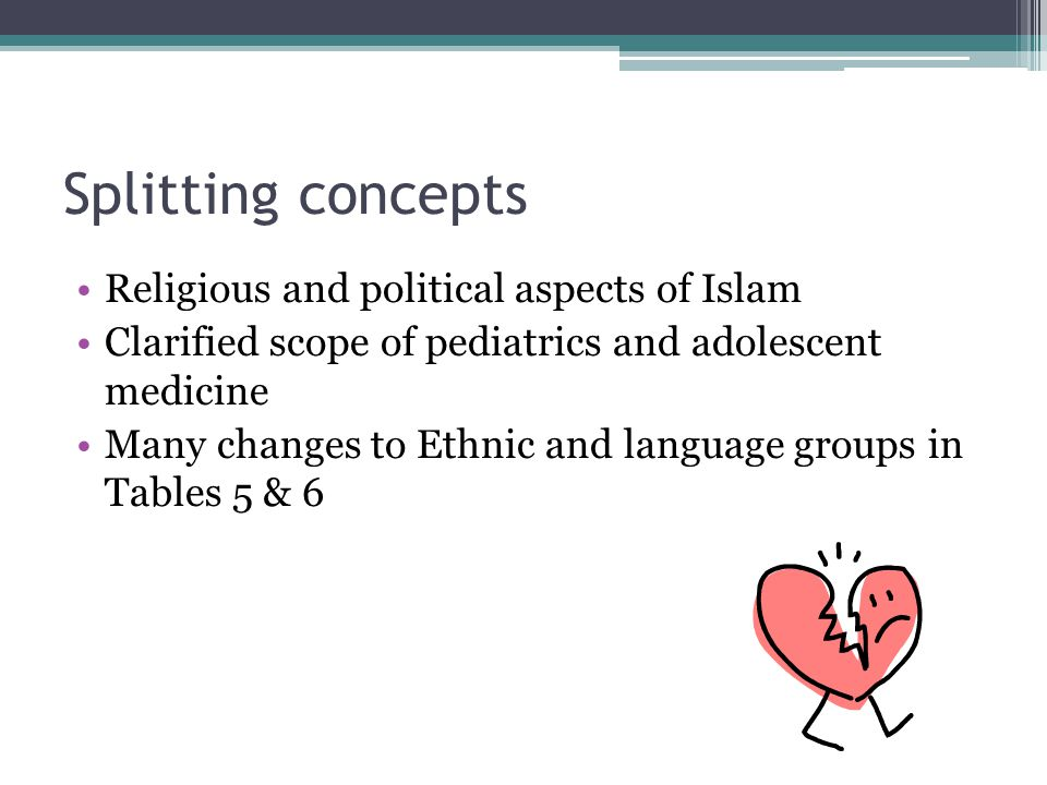 Splitting concepts Religious and political aspects of Islam Clarified scope of pediatrics and adolescent medicine Many changes to Ethnic and language groups in Tables 5 & 6
