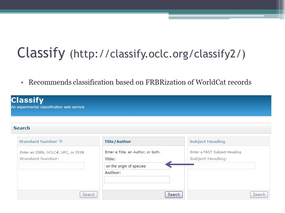 Classify (http://classify.oclc.org/classify2/) Recommends classification based on FRBRization of WorldCat records