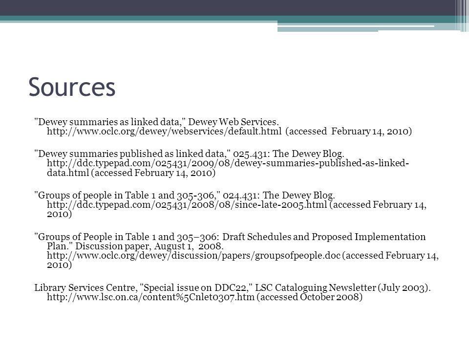 Sources Dewey summaries as linked data, Dewey Web Services.