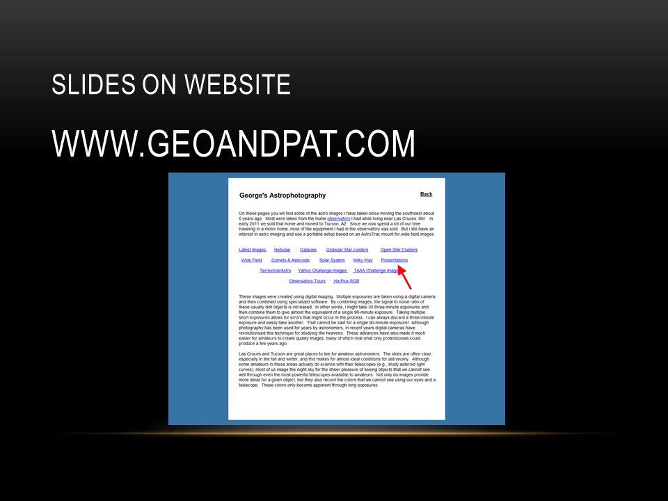 SLIDES ON WEBSITE WWW.GEOANDPAT.COM