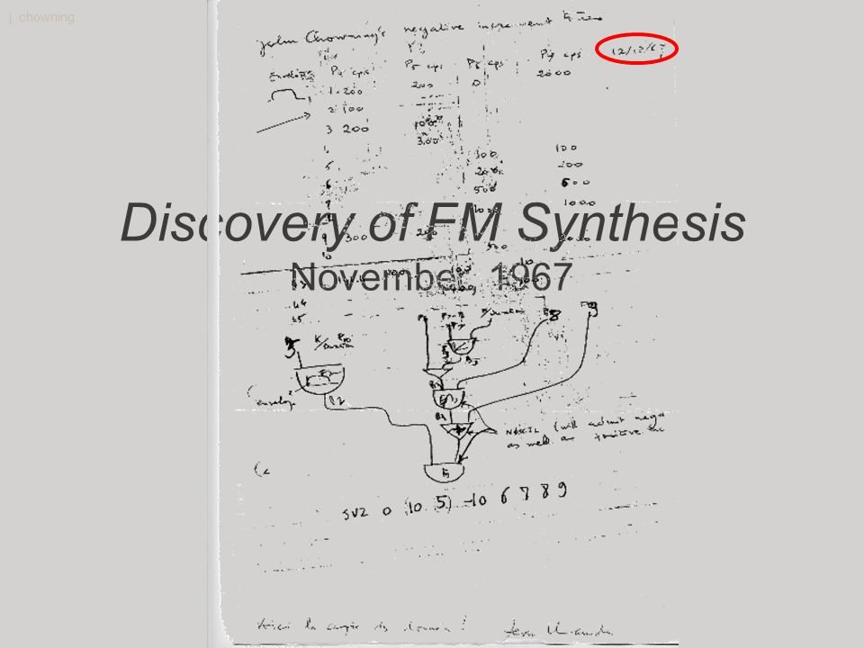 j. chowning Discovery of FM Synthesis November, 1967