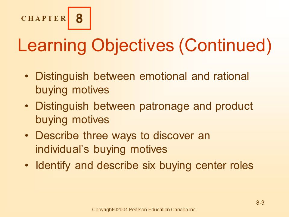 C H A P T E R 8 Copyright 2004 Pearson Education Canada Inc. 8-3 Learning Objectives (Continued) Distinguish between emotional and rational buying mot