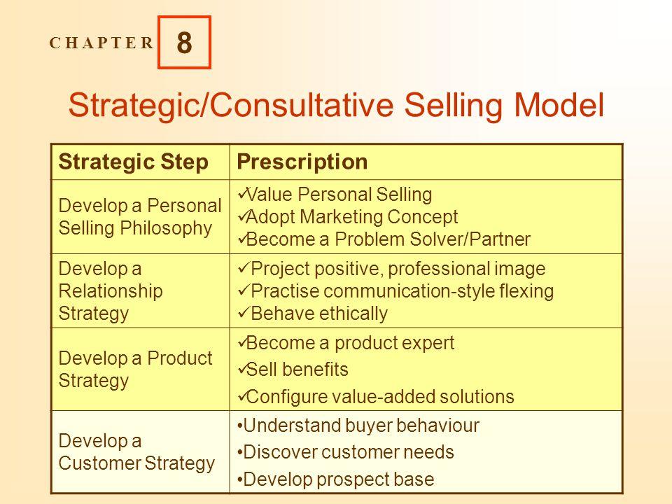 C H A P T E R 8 Copyright 2004 Pearson Education Canada Inc. 8-5 Strategic/Consultative Selling Model Strategic StepPrescription Develop a Personal Se