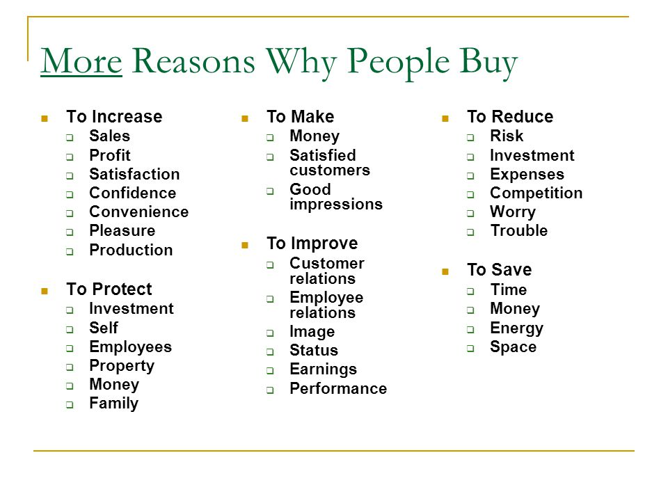 More Reasons Why People Buy To Increase Sales Profit Satisfaction Confidence Convenience Pleasure Production To Protect Investment Self Employees Property Money Family To Make Money Satisfied customers Good impressions To Improve Customer relations Employee relations Image Status Earnings Performance To Reduce Risk Investment Expenses Competition Worry Trouble To Save Time Money Energy Space