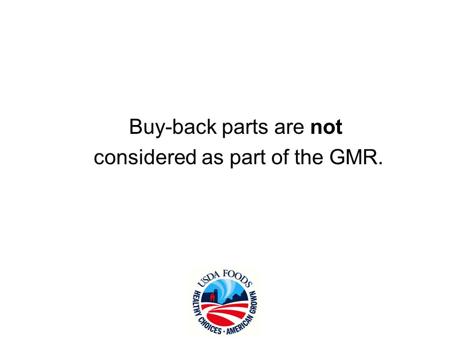 Buy back parts are not considered as part of the GMR.
