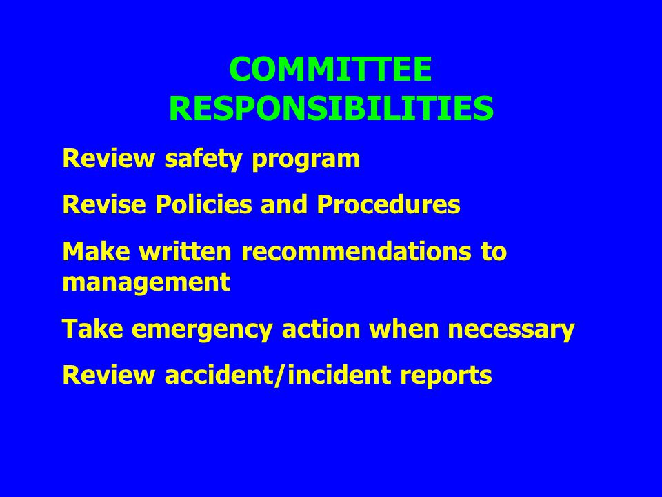 Review safety program Revise Policies and Procedures Make written recommendations to management Take emergency action when necessary Review accident/i