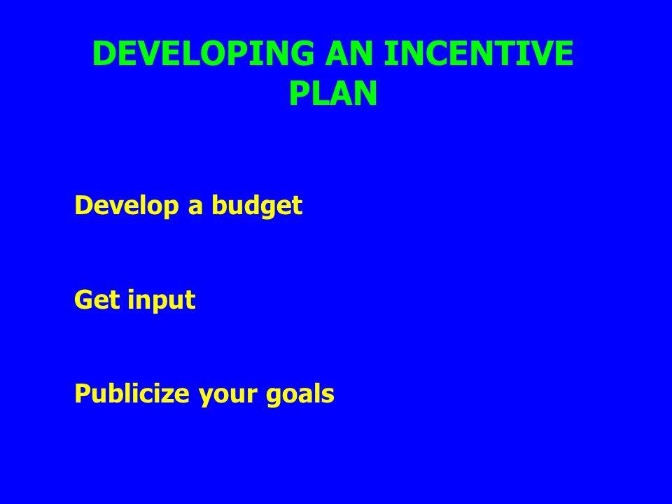 DEVELOPING AN INCENTIVE PLAN Develop a budget Get input Publicize your goals