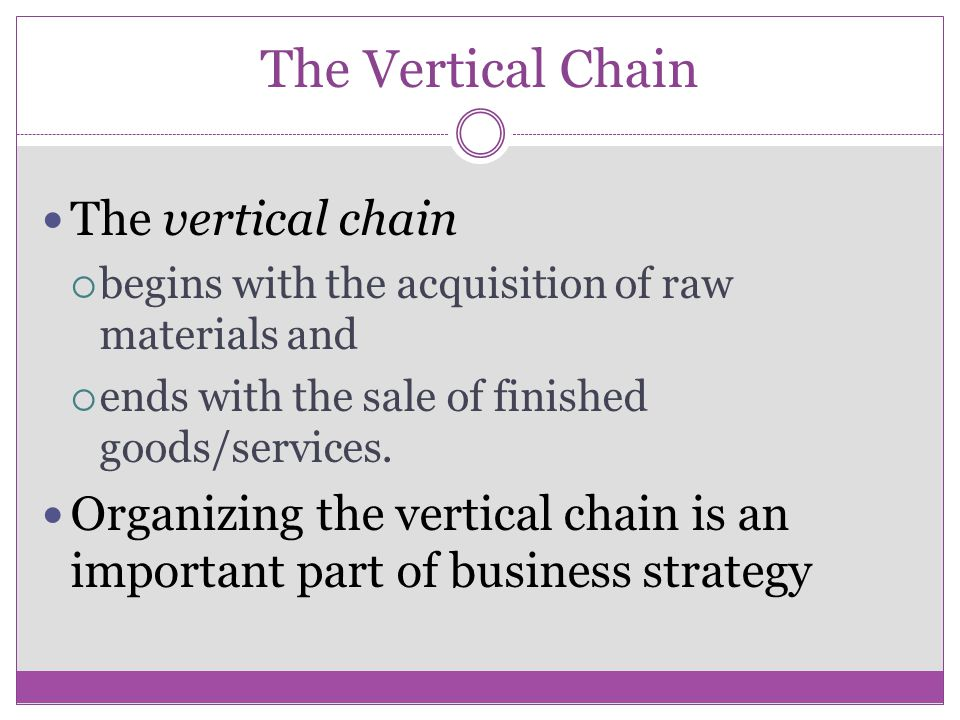 The Vertical Chain The vertical chain begins with the acquisition of raw materials and ends with the sale of finished goods/services.