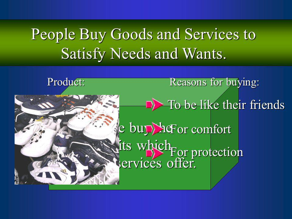 People Buy Goods and Services to Satisfy Needs and Wants. People buy the benefits which products/services offer. Product: Reasons for buying: For comf