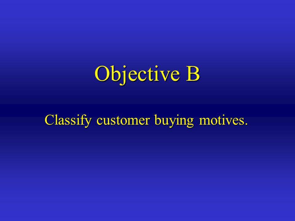 Objective B Classify customer buying motives.