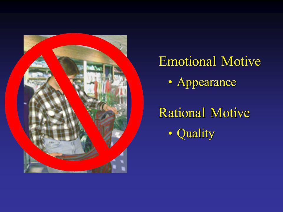 Emotional Motive Rational Motive AppearanceAppearance QualityQuality