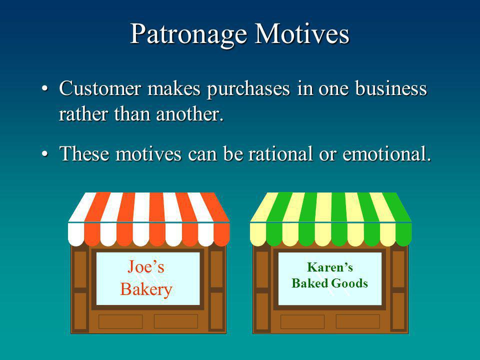 Patronage Motives Customer makes purchases in one business rather than another.Customer makes purchases in one business rather than another. These mot
