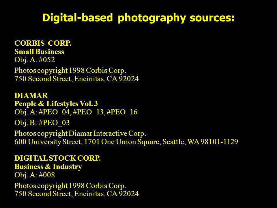Digital-based photography sources: CORBIS CORP. Small Business Obj. A: #052 Photos copyright 1998 Corbis Corp. 750 Second Street, Encinitas, CA 92024