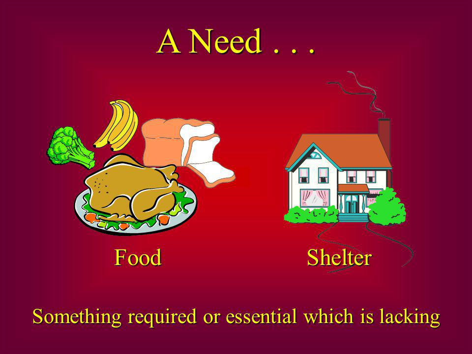 A Need... Something required or essential which is lacking Food Shelter