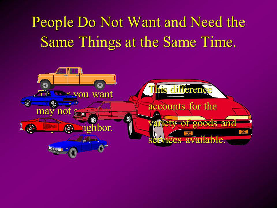 People Do Not Want and Need the Same Things at the Same Time. The car you want may not appeal to your neighbor. This difference accounts for the varie