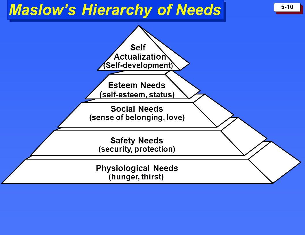 5-10 Maslows Hierarchy of Needs Esteem Needs ( self-esteem, status) Social Needs (sense of belonging, love) Safety Needs (security, protection) Physio