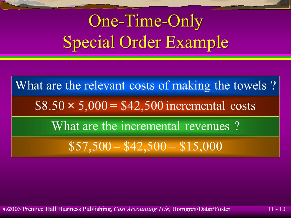 11 - 13 ©2003 Prentice Hall Business Publishing, Cost Accounting 11/e, Horngren/Datar/Foster One-Time-Only Special Order Example $8.50 × 5,000 = $42,5