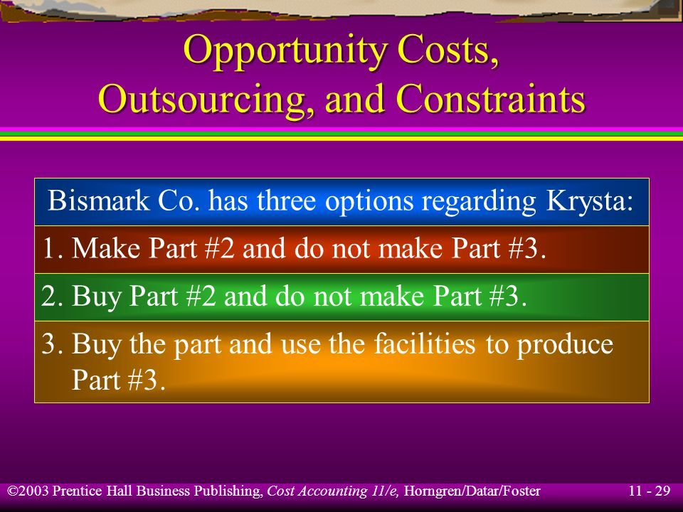 11 - 29 ©2003 Prentice Hall Business Publishing, Cost Accounting 11/e, Horngren/Datar/Foster Opportunity Costs, Outsourcing, and Constraints Bismark C