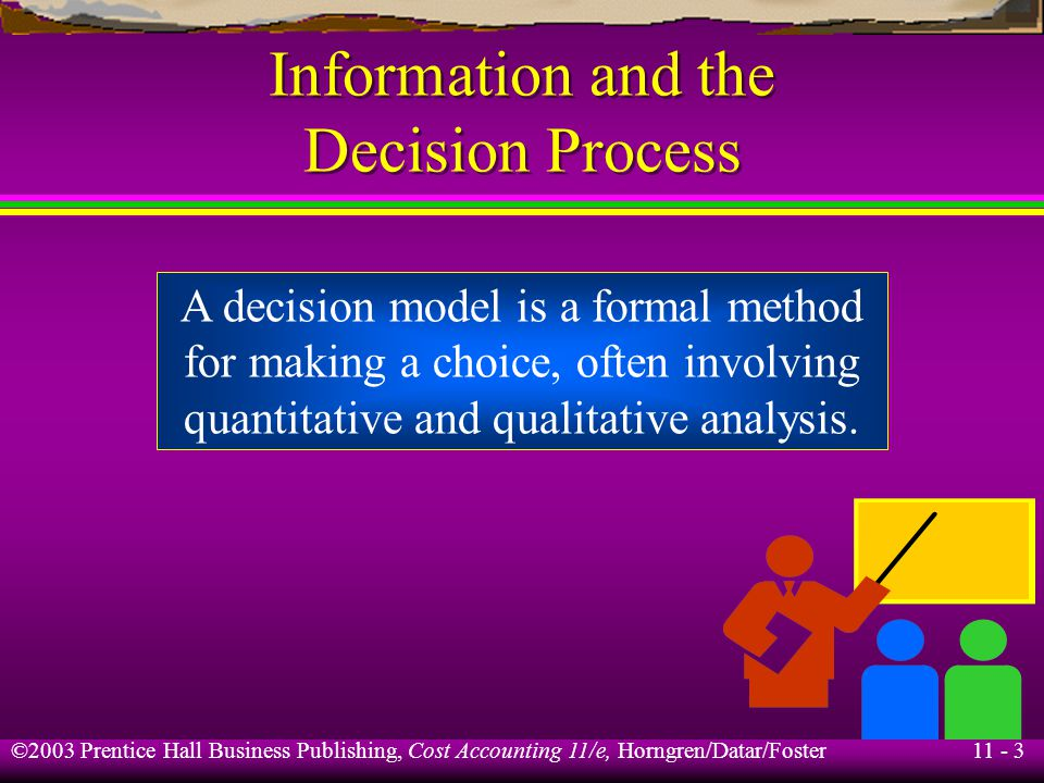 11 - 3 ©2003 Prentice Hall Business Publishing, Cost Accounting 11/e, Horngren/Datar/Foster Information and the Decision Process A decision model is a