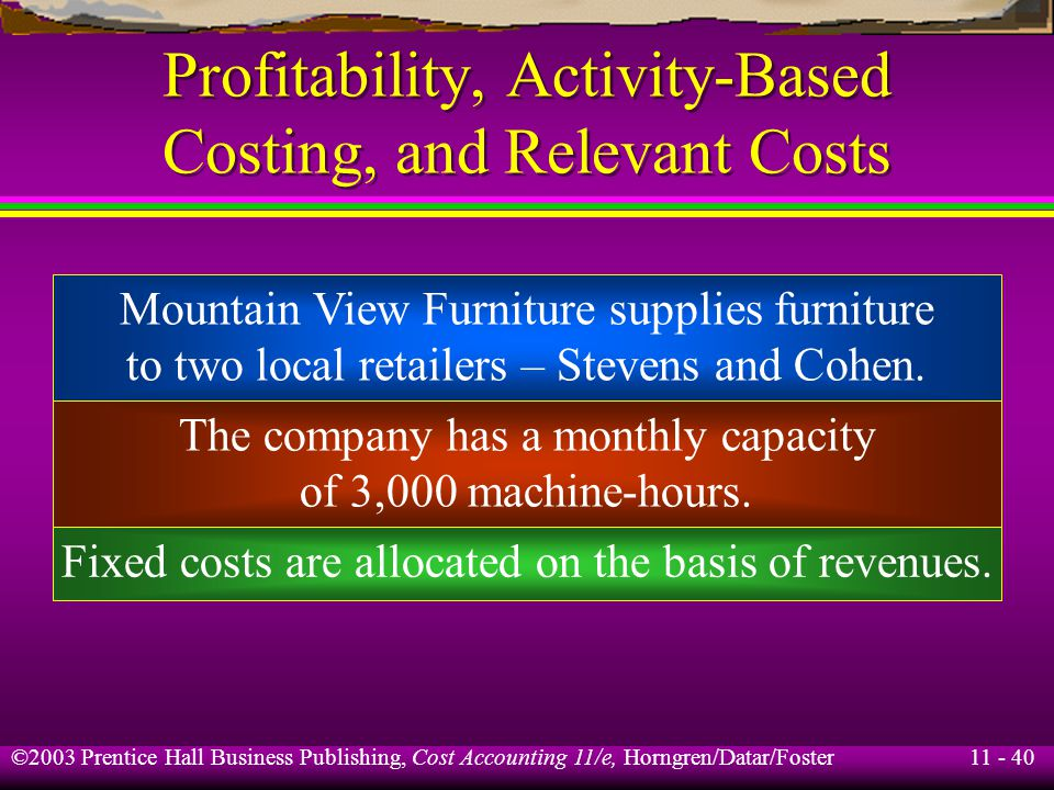 11 - 40 ©2003 Prentice Hall Business Publishing, Cost Accounting 11/e, Horngren/Datar/Foster Profitability, Activity-Based Costing, and Relevant Costs