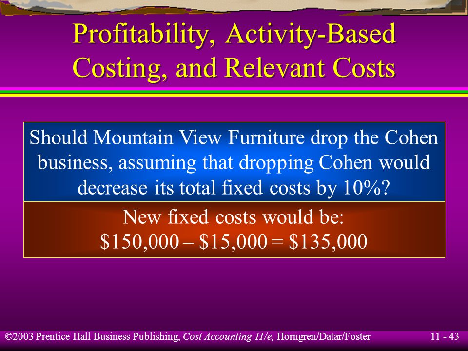 11 - 43 ©2003 Prentice Hall Business Publishing, Cost Accounting 11/e, Horngren/Datar/Foster Profitability, Activity-Based Costing, and Relevant Costs