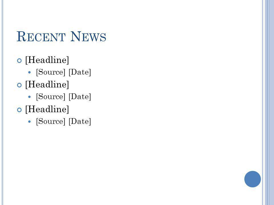 R ECENT N EWS [Headline] [Source] [Date] [Headline] [Source] [Date] [Headline] [Source] [Date]