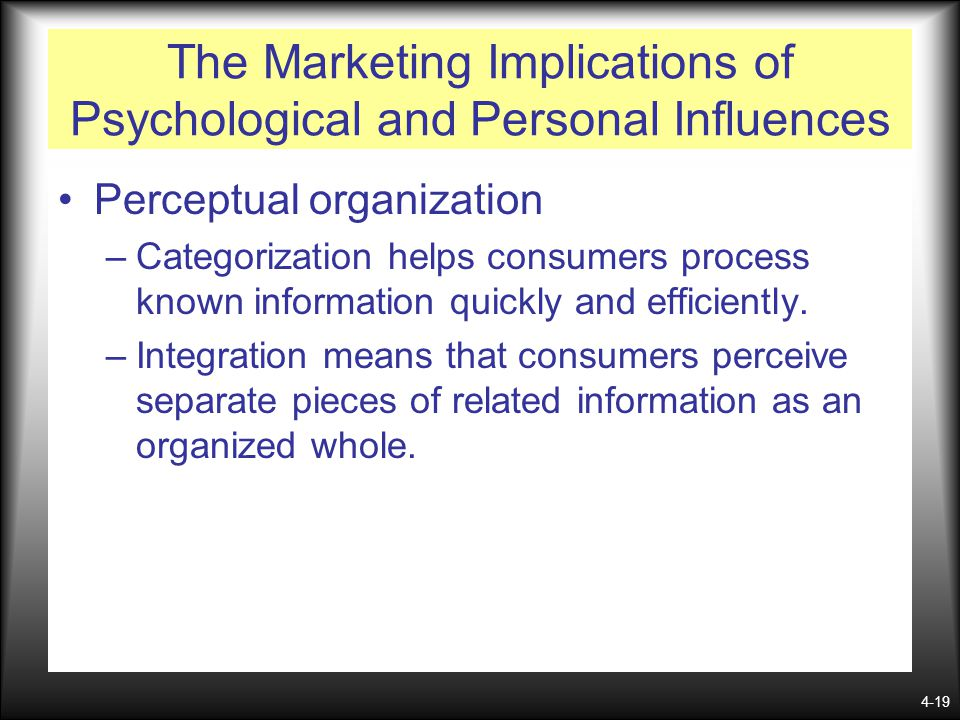 4-19 The Marketing Implications of Psychological and Personal Influences Perceptual organization –Categorization helps consumers process known informa