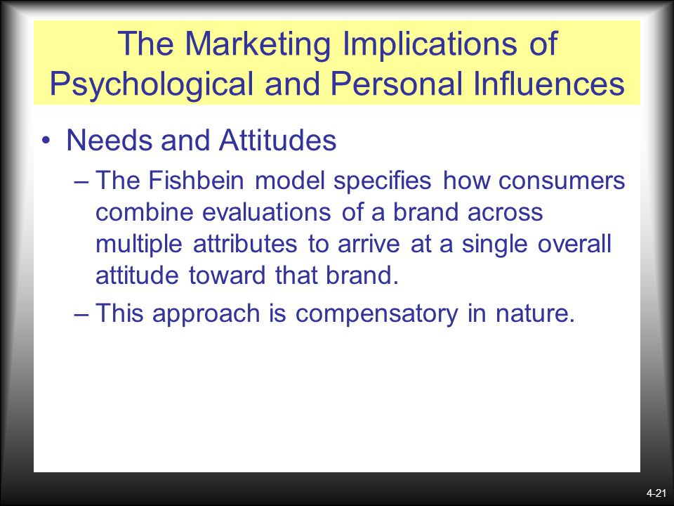 4-21 The Marketing Implications of Psychological and Personal Influences Needs and Attitudes –The Fishbein model specifies how consumers combine evalu