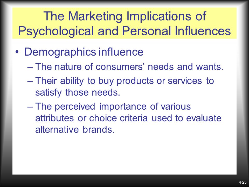 4-25 The Marketing Implications of Psychological and Personal Influences Demographics influence –The nature of consumers needs and wants. –Their abili