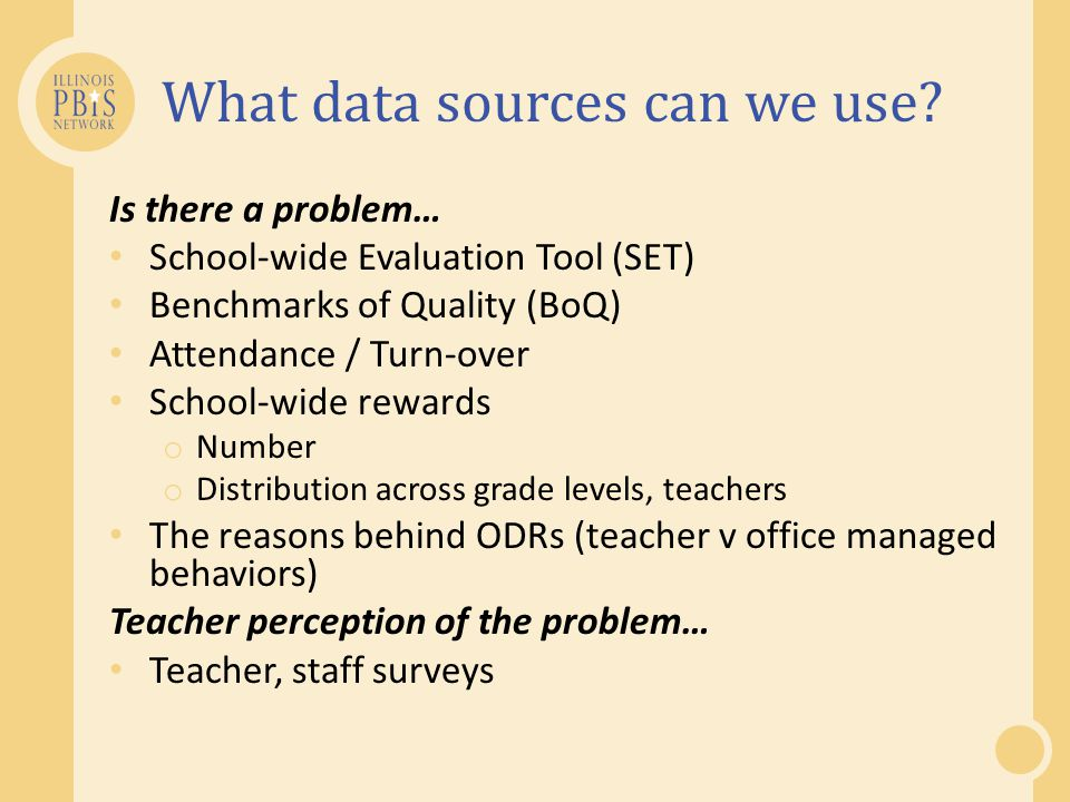What data sources can we use? Is there a problem… School-wide Evaluation Tool (SET) Benchmarks of Quality (BoQ) Attendance / Turn-over School-wide rew