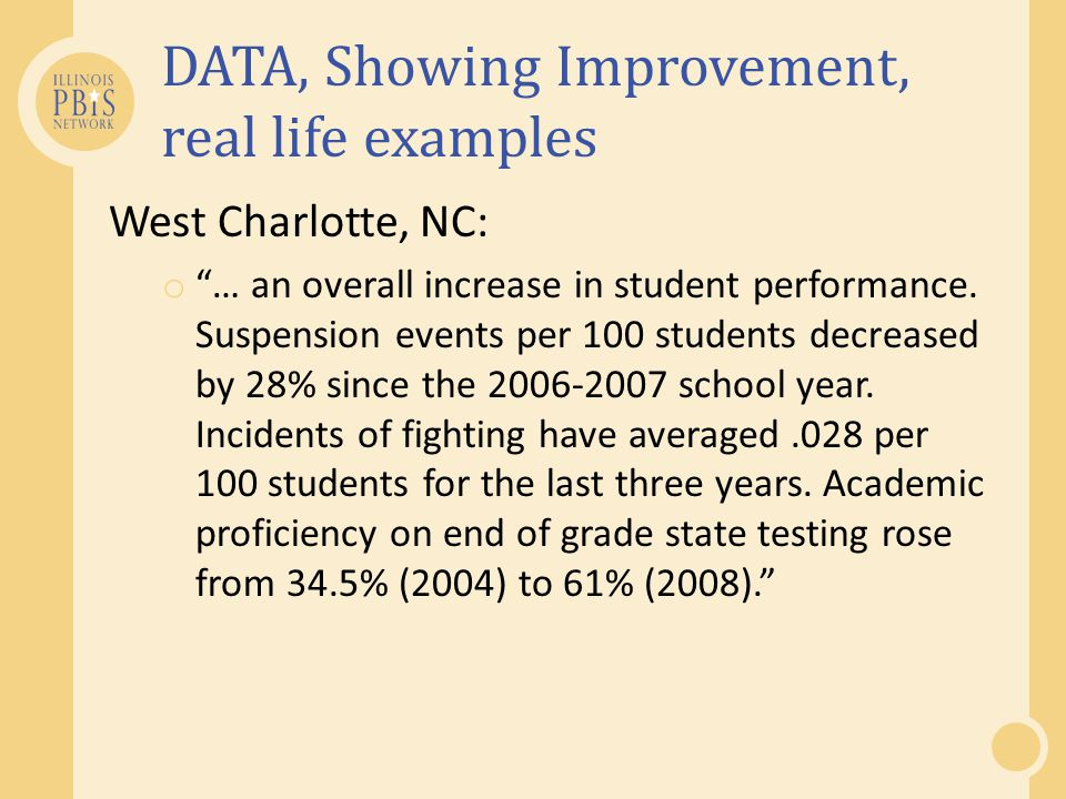 DATA, Showing Improvement, real life examples West Charlotte, NC: o … an overall increase in student performance. Suspension events per 100 students d
