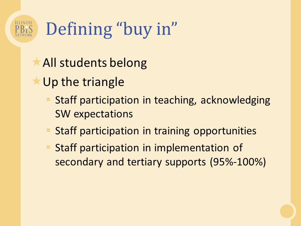 Training Explicit training: o What is PBIS and, What do I have to do.