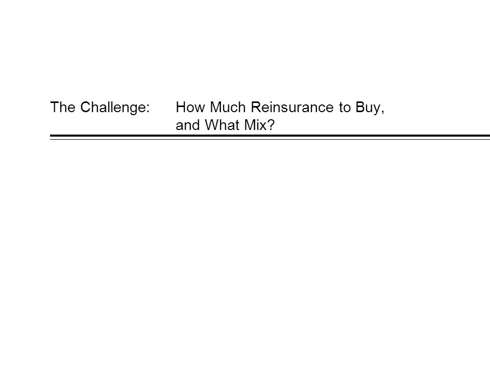 The Challenge:How Much Reinsurance to Buy, and What Mix?