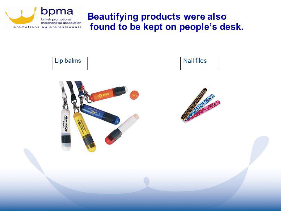 Lip balmsNail files Beautifying products were also found to be kept on peoples desk.