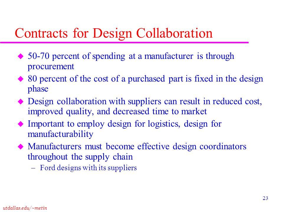 utdallas.edu/~metin 23 Contracts for Design Collaboration u 50-70 percent of spending at a manufacturer is through procurement u 80 percent of the cos