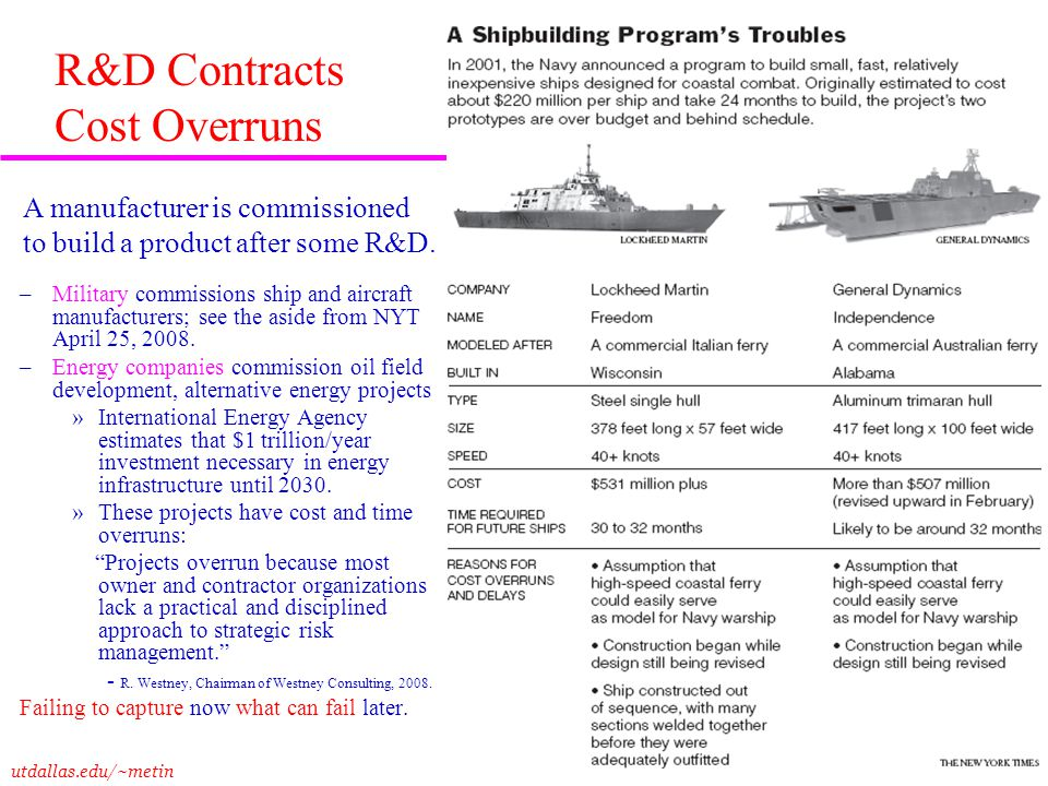 utdallas.edu/~metin 24 R&D Contracts Cost Overruns –Military commissions ship and aircraft manufacturers; see the aside from NYT April 25, 2008. –Ener