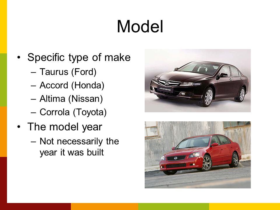 Model Specific type of make –Taurus (Ford) –Accord (Honda) –Altima (Nissan) –Corrola (Toyota) The model year –Not necessarily the year it was built