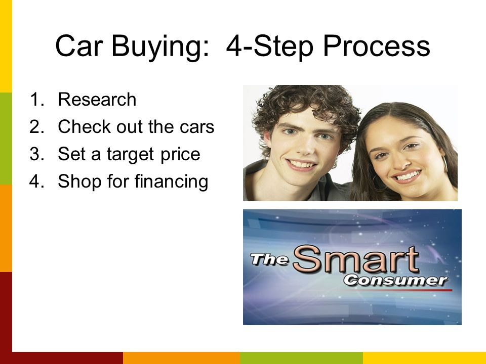 Car Buying: 4-Step Process 1.Research 2.Check out the cars 3.Set a target price 4.Shop for financing