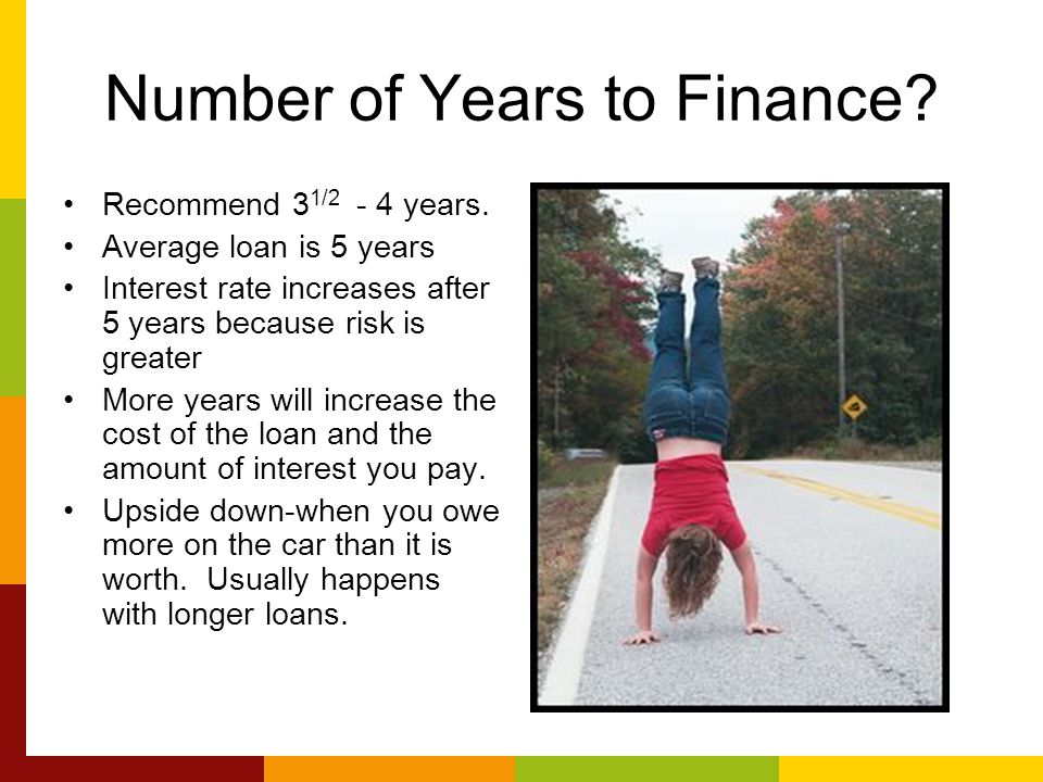 Number of Years to Finance.Recommend 3 1/2 - 4 years.