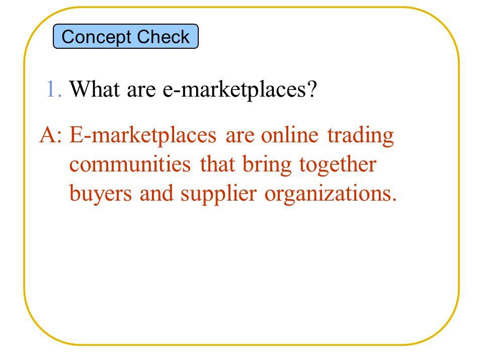 Concept Check 1. What are e-marketplaces.